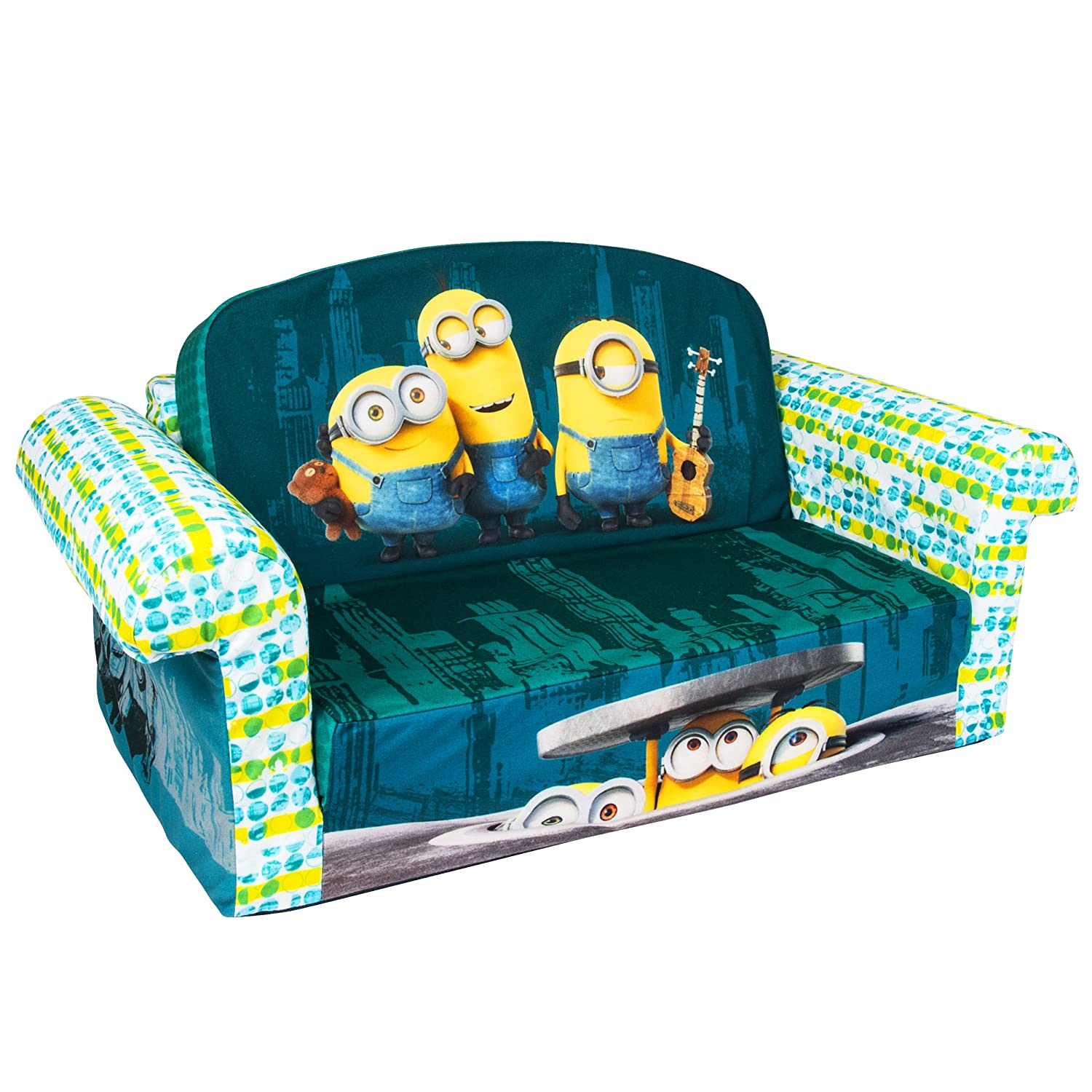 Amazon.com: Marshmallow Furniture, Childrenu0027s 2 In 1 Flip Open Foam Sofa,  Despicable Me Minions, By Spin Master: Toys U0026 Games