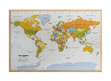 Weltkarte Kork Pinnwand Englisch 90x60cm Heller Rahmen Mit 12 Pin