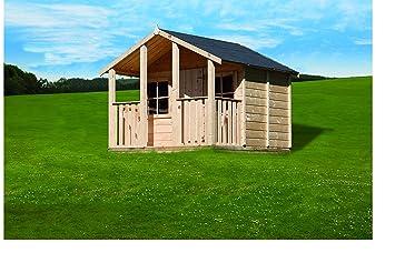Kinderspielhaus Aus Holz Mit überdachter Terrasse Deinspielgeraet