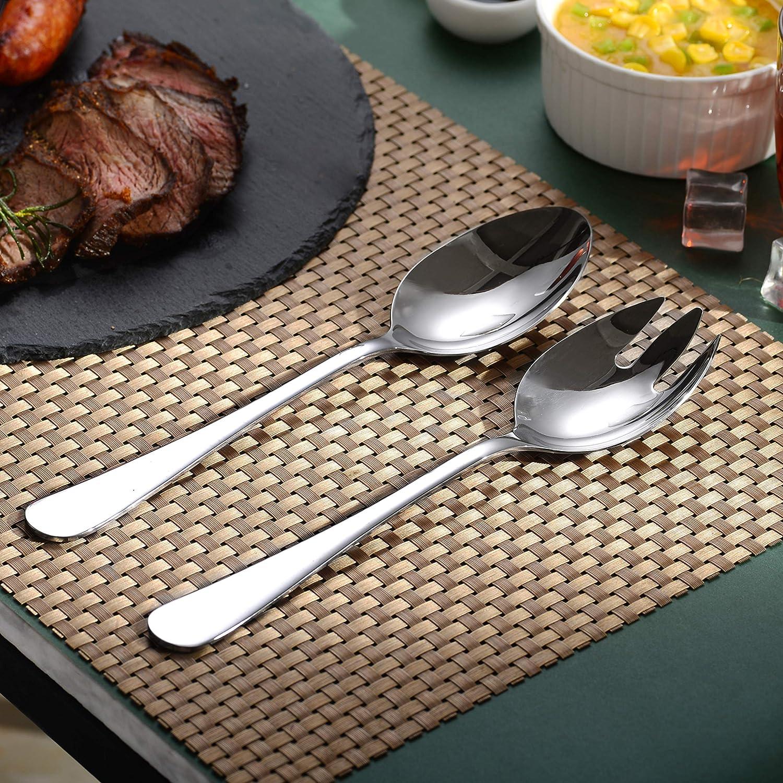 Sp/ülmaschinengeeignet Silber Velaze Salatbesteck aus Edelstahl Salatl/öffel und Salatgabel