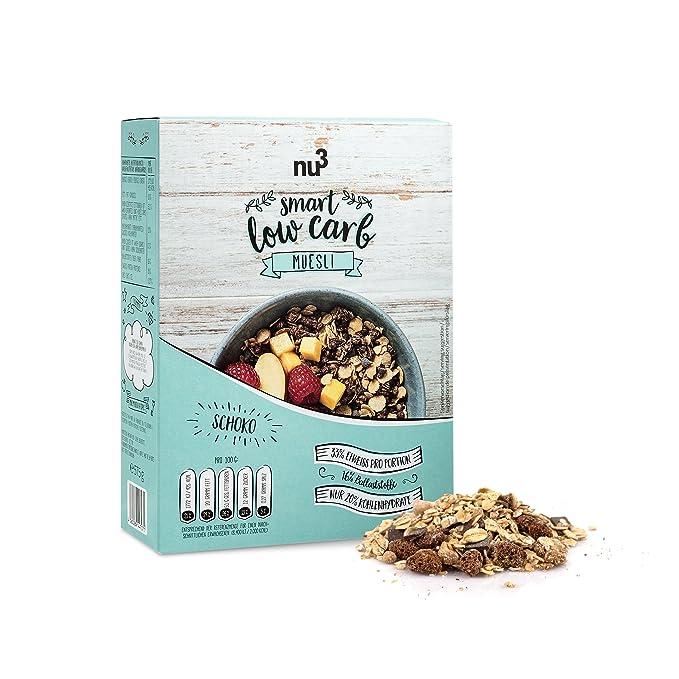 nu3 Muesli Low Carb sabor chocolate | 575g de mezcla de avena y cereales | Desayuno