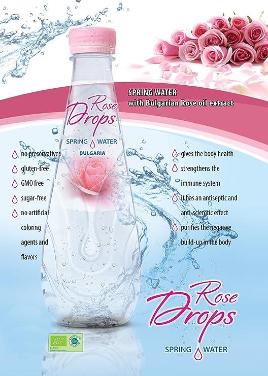 Rose Drops Bio Orgánico Agua de Rosas 500 ml para Beber, Cocinar y ...