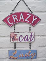 """Crazy Cat Lady"" Funny Chain Style Hanging Plaque / Sign - for Cat Lovers"