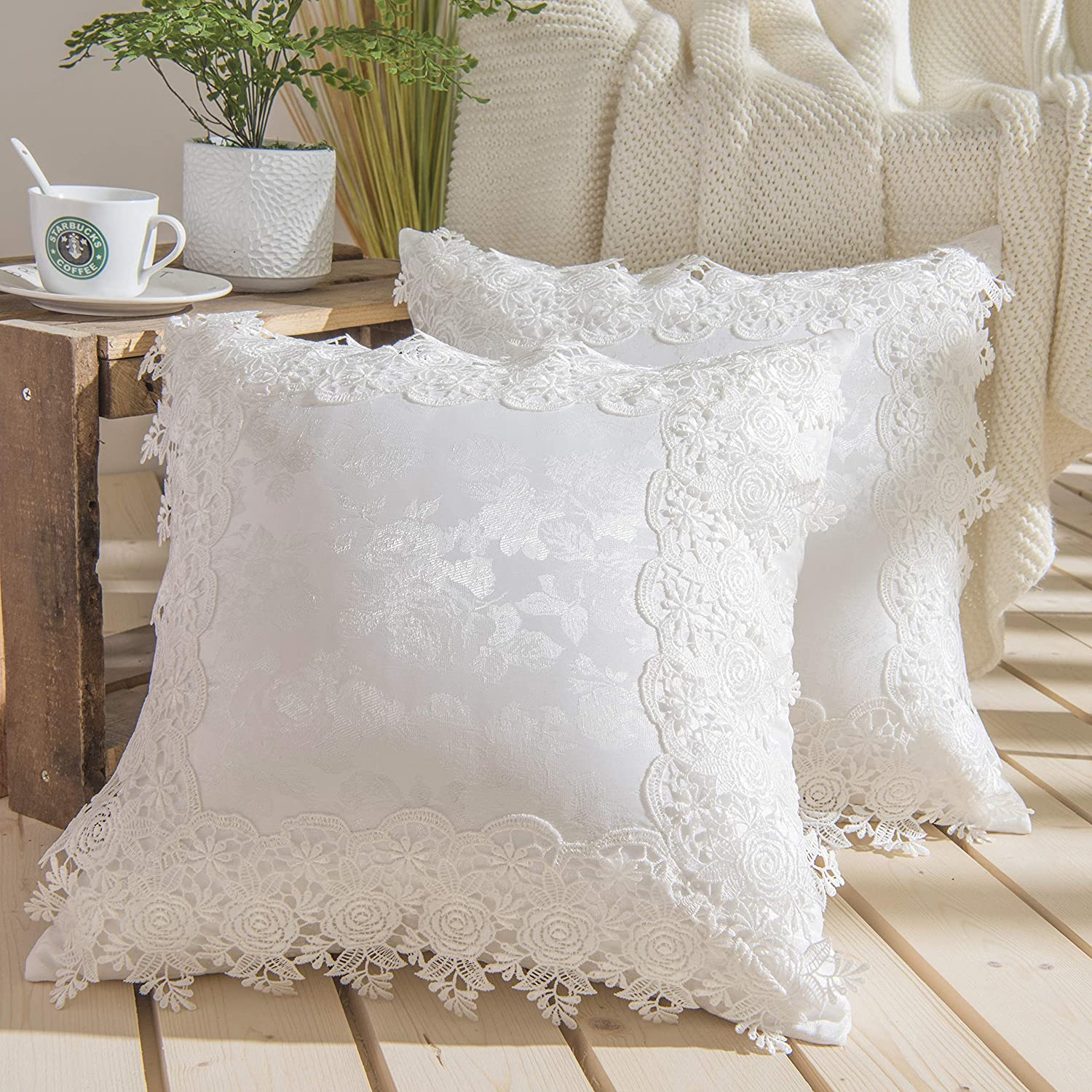 Vintage Ruffles Lace Embroidery Flower Pillow Case Cover Cushion Cover Standard