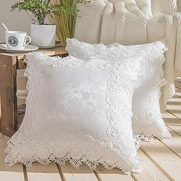 Amazon.com: Funda de almohada Jacquard para sofá de encaje ...