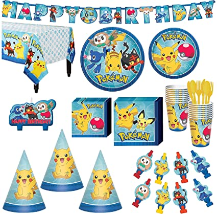 Pokemon Core Birthday Party Kit Includes Happy Banner Candles And Hats