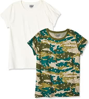 LOOK by crewcuts Camiseta de manga corta para niña, liso/estampado (2 unidades)