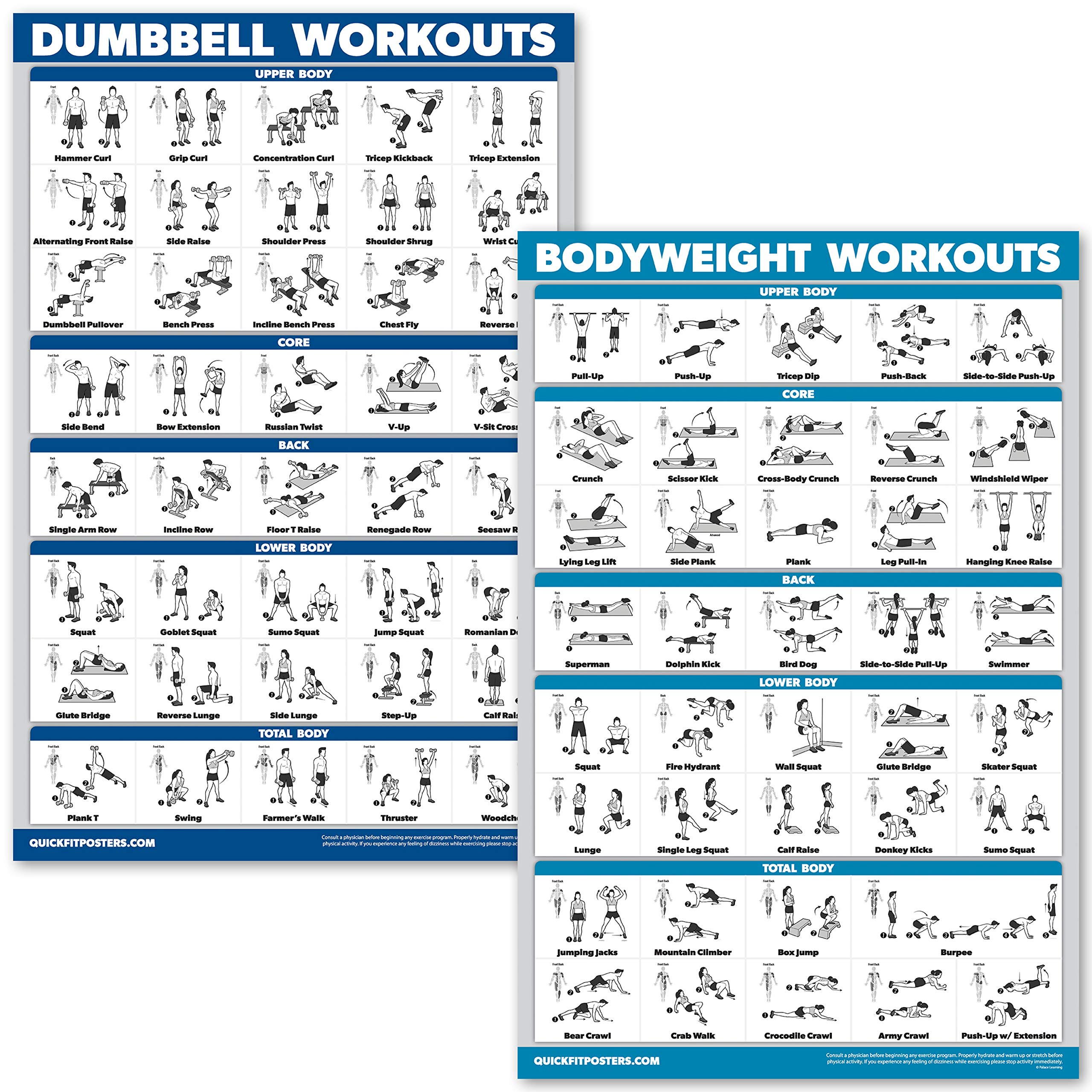 QuickFit Dumbbell Workouts and Bodyweight Exercise Poster Set – Laminated 2 Chart Set – Dumbbell Exercise Routine & Body…