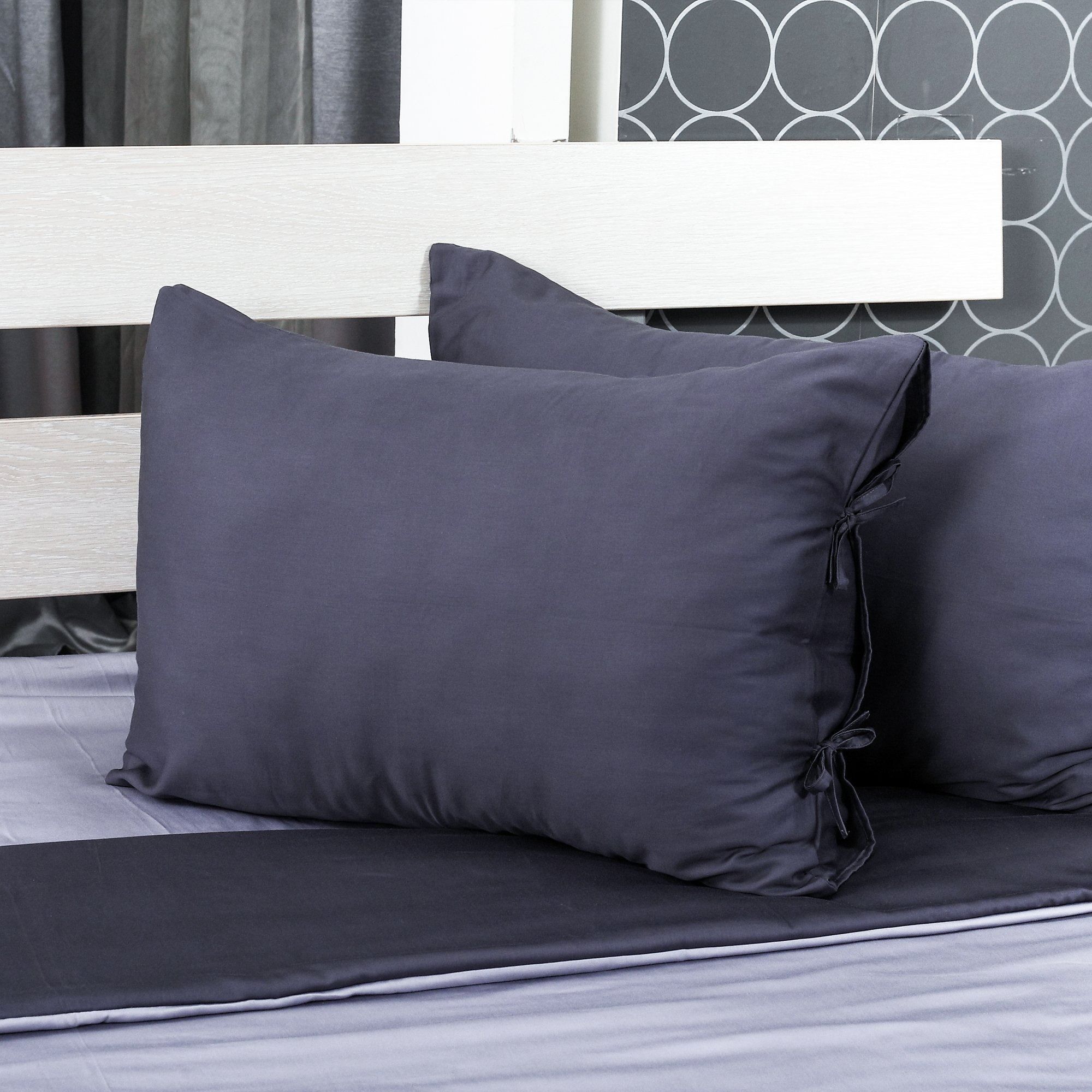 Cloudy Hugs Bed Linen Set – 100% Natural Textile: Sateen – & Comfortable for Sweet Dreams - 5 pc Set -Queen, Dark Gray/Light Gray by Cloudy Hugs (Image #8)