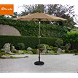 Ulax Furniture 9 Ft Outdoor Umbrella Patio Market Umbrella Aluminum with Push Button Tilt&Crank, Sunbrella Fabric, Heather Beige