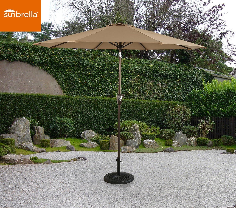 Amazon.com : Ulax Furniture 9 Ft Outdoor Umbrella Patio Market Umbrella  Aluminum With Push Button Tiltu0026Crank, Sunbrella Fabric, Heather Beige :  Garden U0026 ...