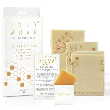 ENEY Premium Organic Beeswax Wraps | Honeycomb Print | Eco-Friendly Reusable Food Wrap | Plastic Alternative | Extra Large Set | 1 Large, 1 Medium, 1 Small and 1 Original ENEY Wax Replenisher