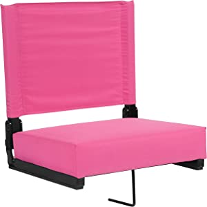 Flash Furniture XU-STA-PK-GG: Grandstand Comfort-500 Lb. Rated Stadium Chair W/Handle & Ultra-Padded Seat, Pink, 1 Pack