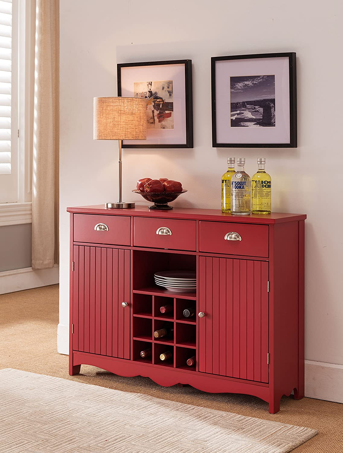 Kings Brand Furniture Buffet Server Console Table With Wine Storage - Red Finish