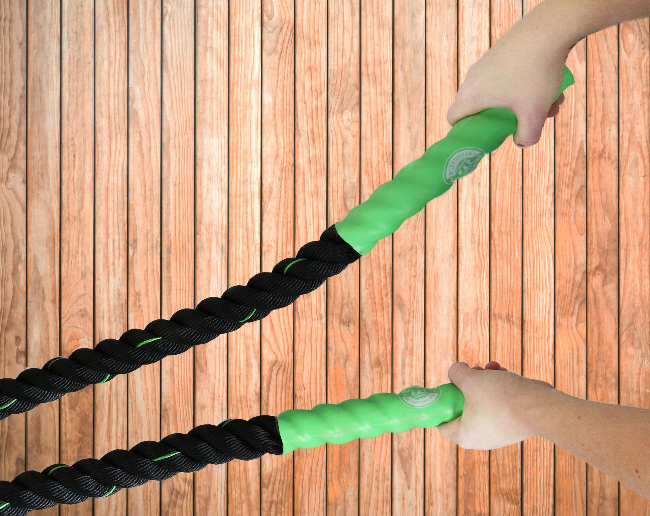 Battle Ropes Fitness | Cardio Exercise Rope Training | Best Gym Workout for Home - 40' feet x 1.5'' inch - Green by Fitness Answered Training (Image #3)
