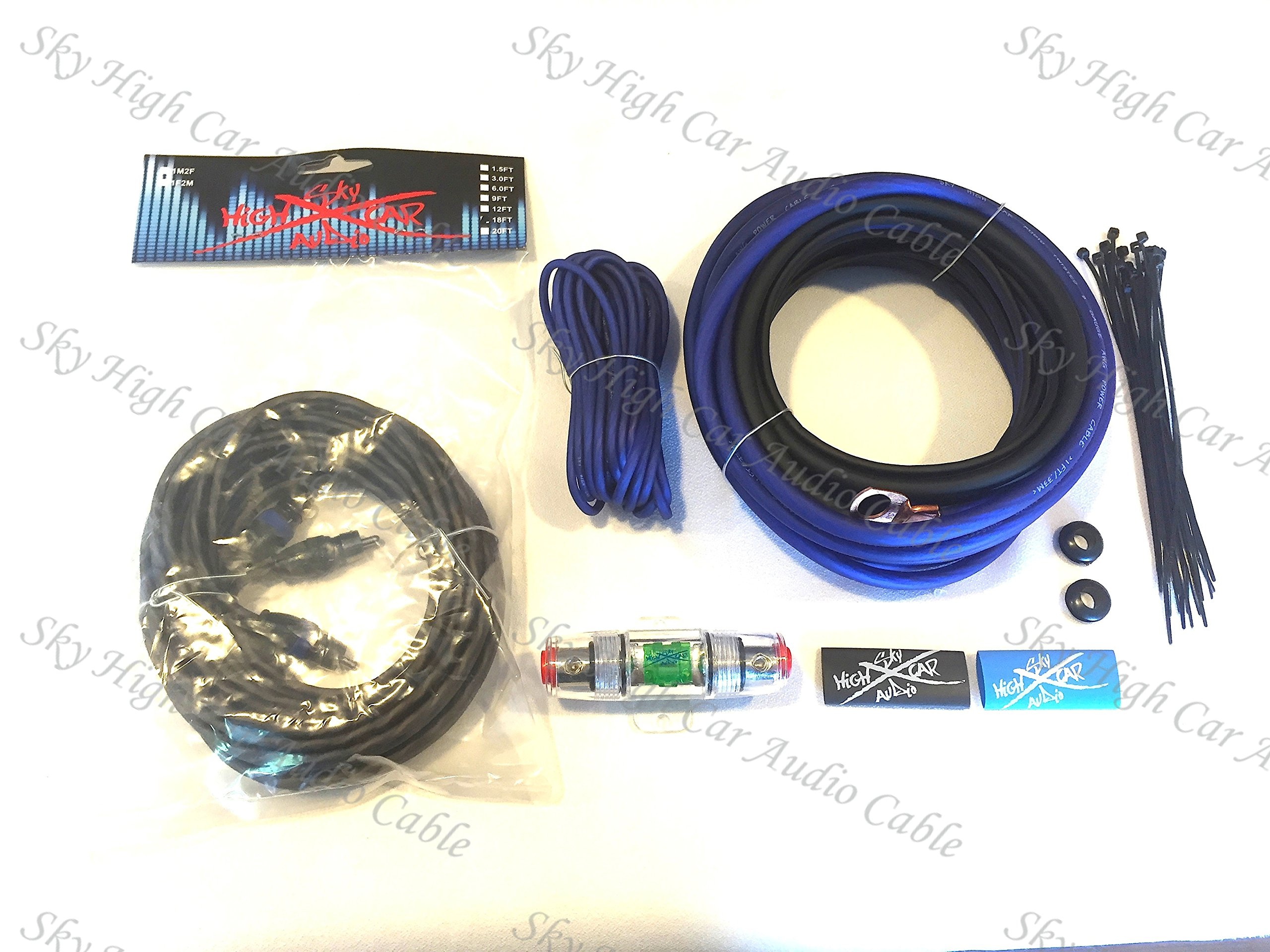 Oversized 8 Ga CCA AWG Amp Kit Twisted RCA Blue Black Complete Sky High