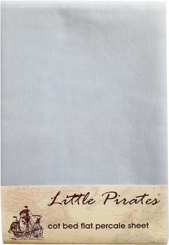 Little Pirates Drap plat pour lit de b/éb/é 100//% coton percale bross/é bleu