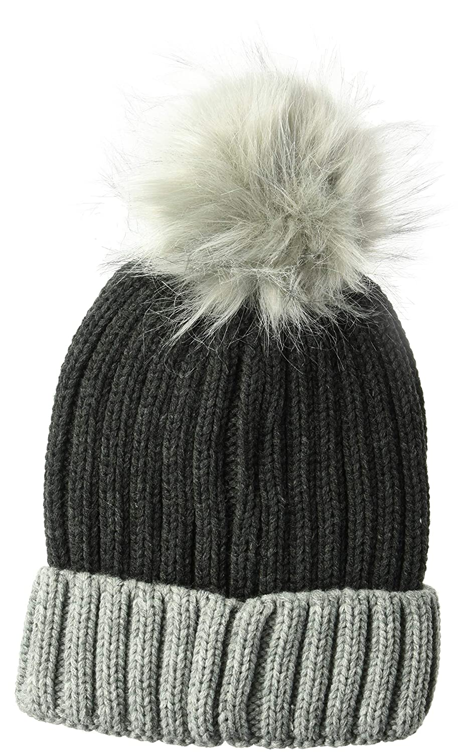 D/&Y Womens David /& Young Colorblock Knit Beanie W//Pom