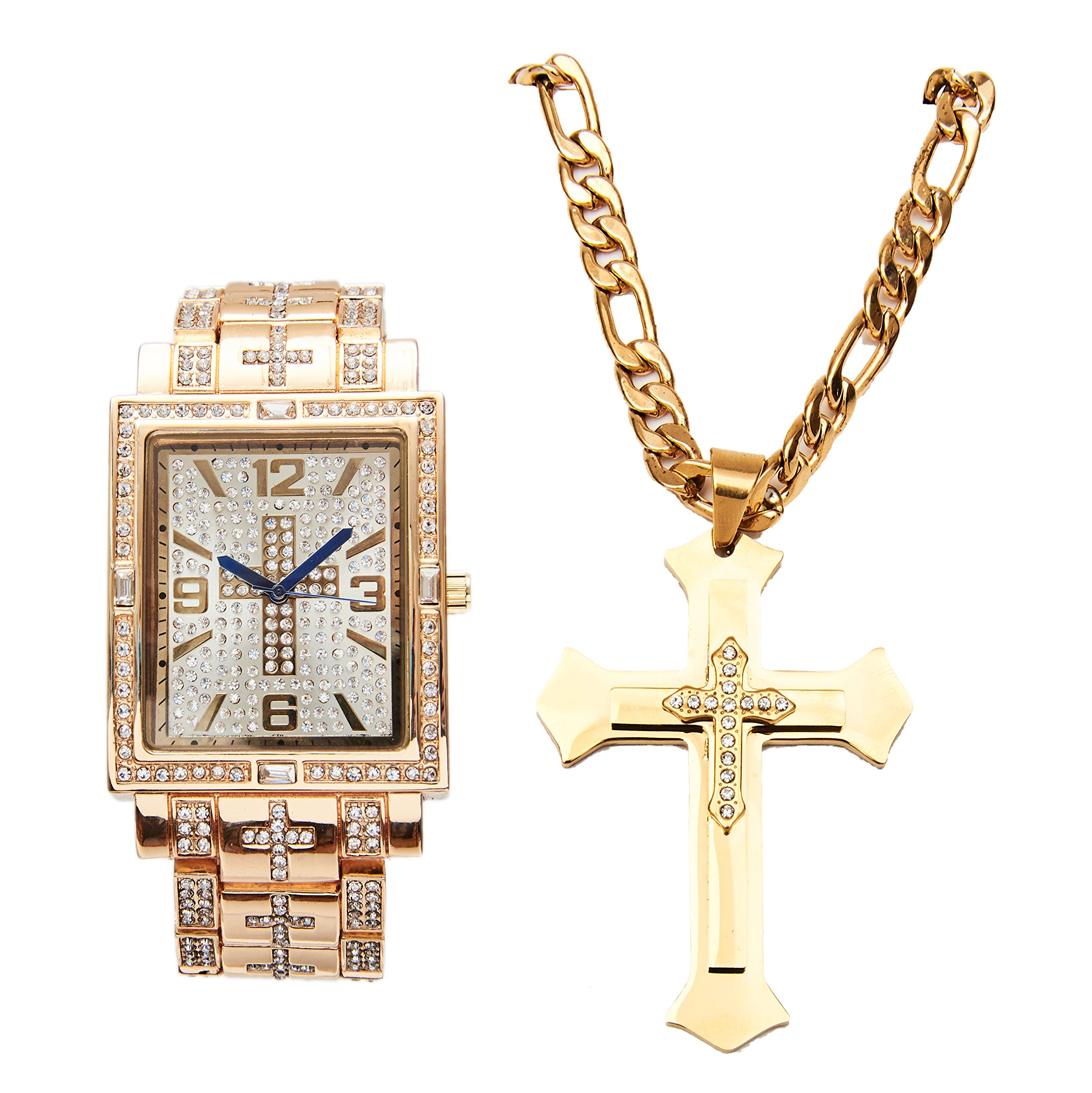 Bling-ed Out Hip Hop Jesus Piece - Rectangular Gold Watch with Baguettes on Trim and Matching 3 Layered Iced Stainless Steel Cross Necklace L0487GLD-LR1024C Cross Gold Set
