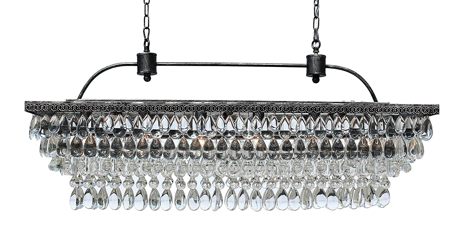 The Weston 40 Inch Rectangular Glass Drop Crystal Chandelier, Antique Silver