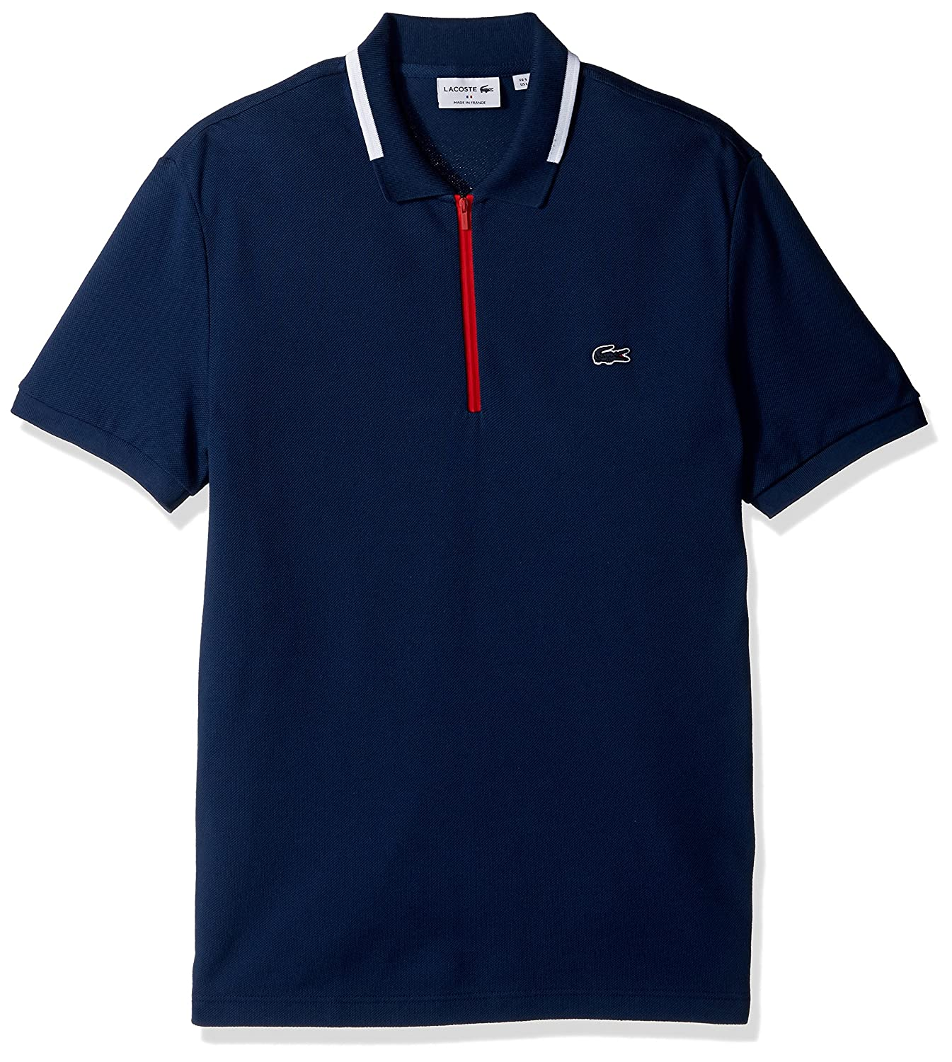 4bd6aac2d18 Lacoste Men s Made in France Zipper Placket Slim Polo