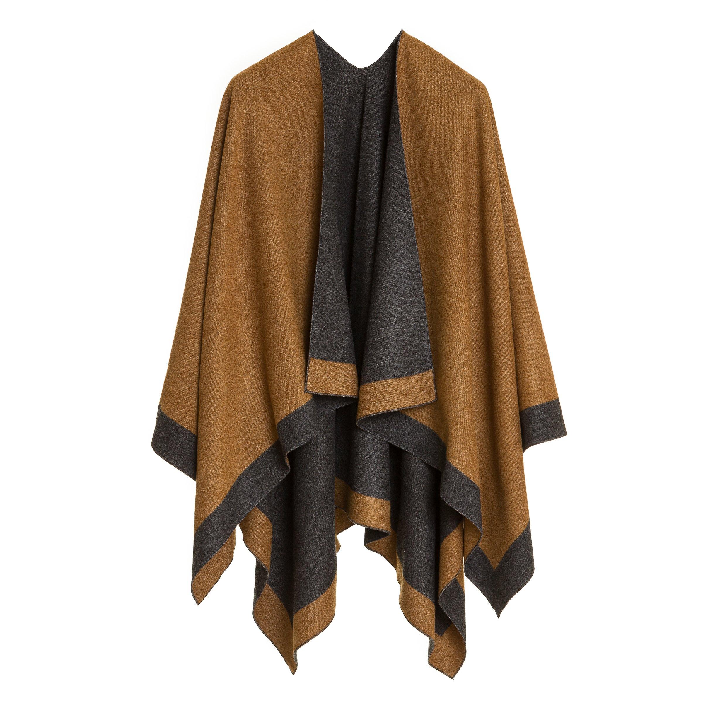 Cardigan Poncho Cape: Women Elegant Gray Cardigan Shawl Wrap Sweater Coat for Winter (Dark Beige Gray)