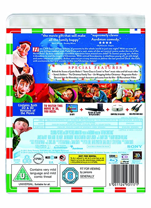 amazoncom arthur christmas 3d blu ray import movies tv - Arthur Christmas Full Movie Online
