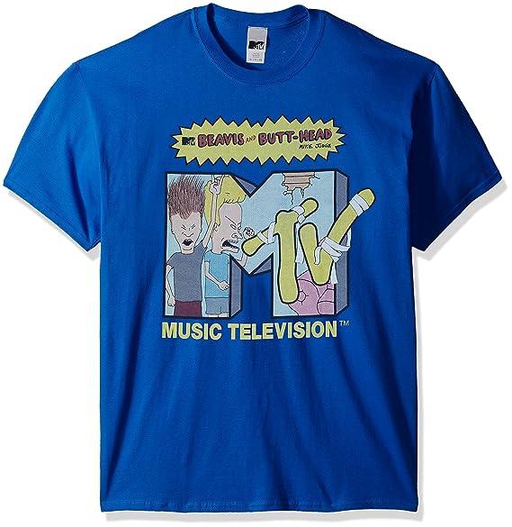 f880f862b Amazon.com: MTV Men's Beavis Butthead Collaboration T-Shirt, Royal ...
