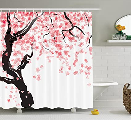 Ambesonne House Decor Shower Curtain Set By Japanese Cherry Tree Blossom In Watercolor Painting Effect