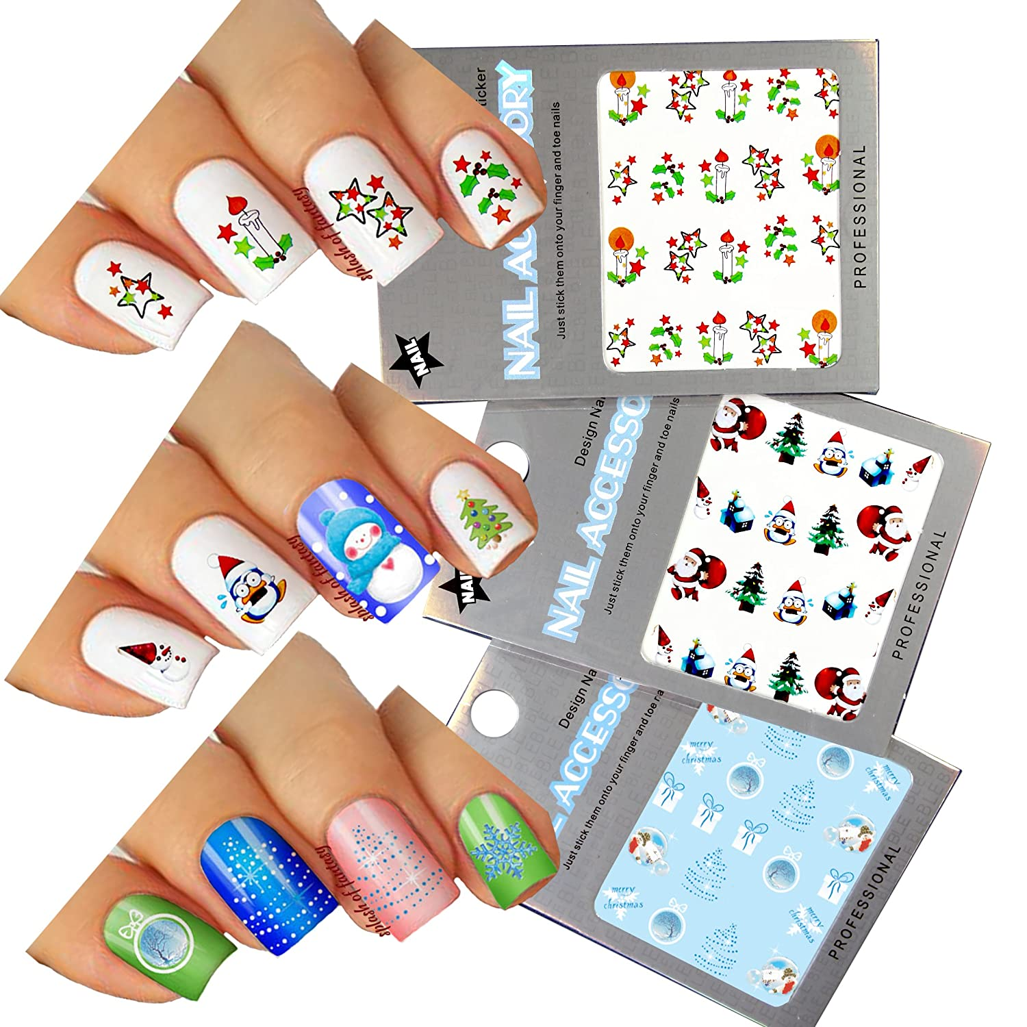Amazon.com: Christmas New Year Theme Nail Art Water Slide Tattoo ...