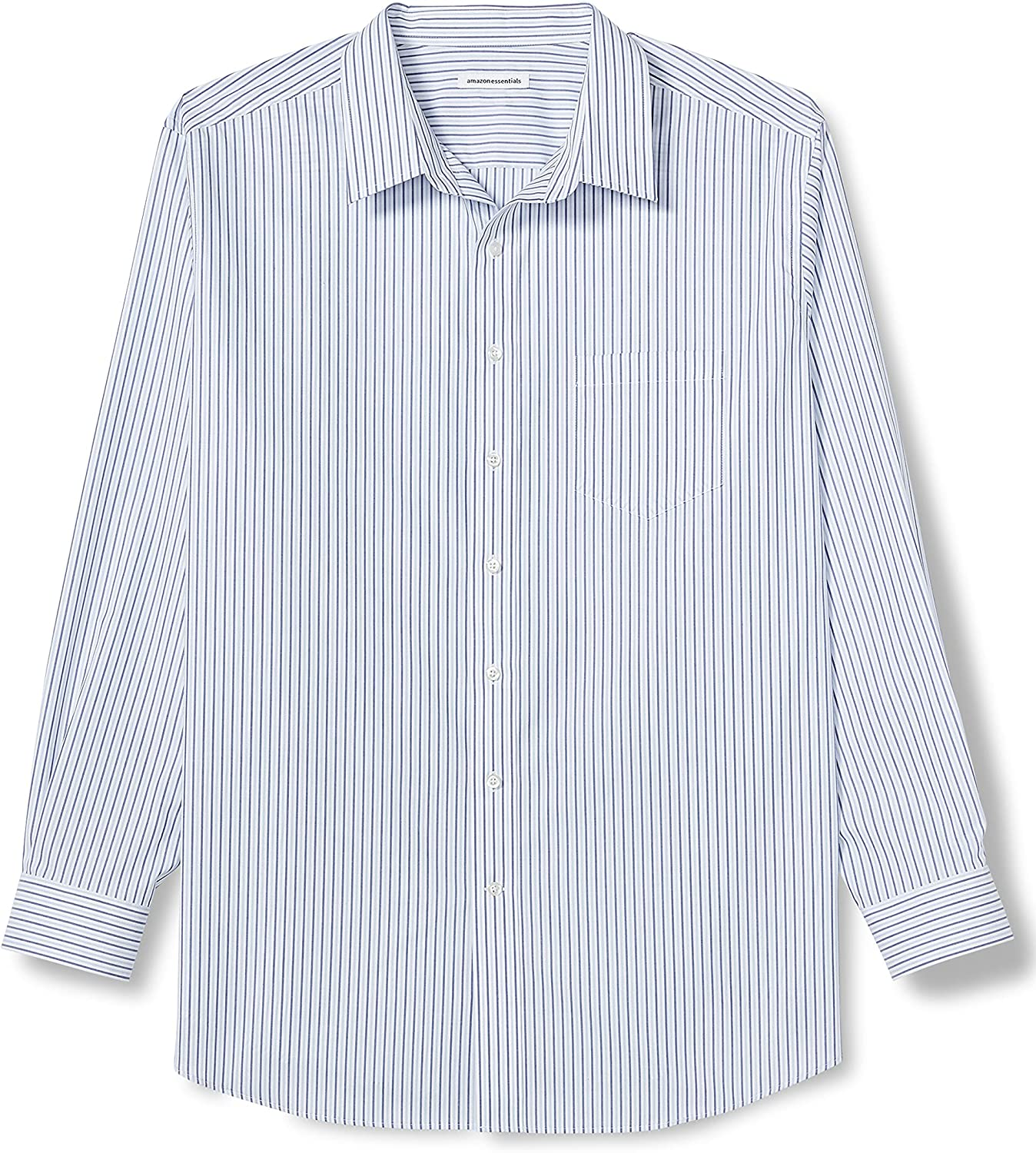 Amazon Essentials Men's Big & Tall Wrinkle-Resistant Long-Sleeve Pattern Dress Shirt fit by DXL