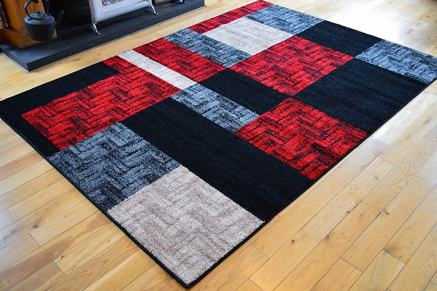 Modern Rugs Square Pattern Grey /& Red Designer Rug Small Extra Large Living Room