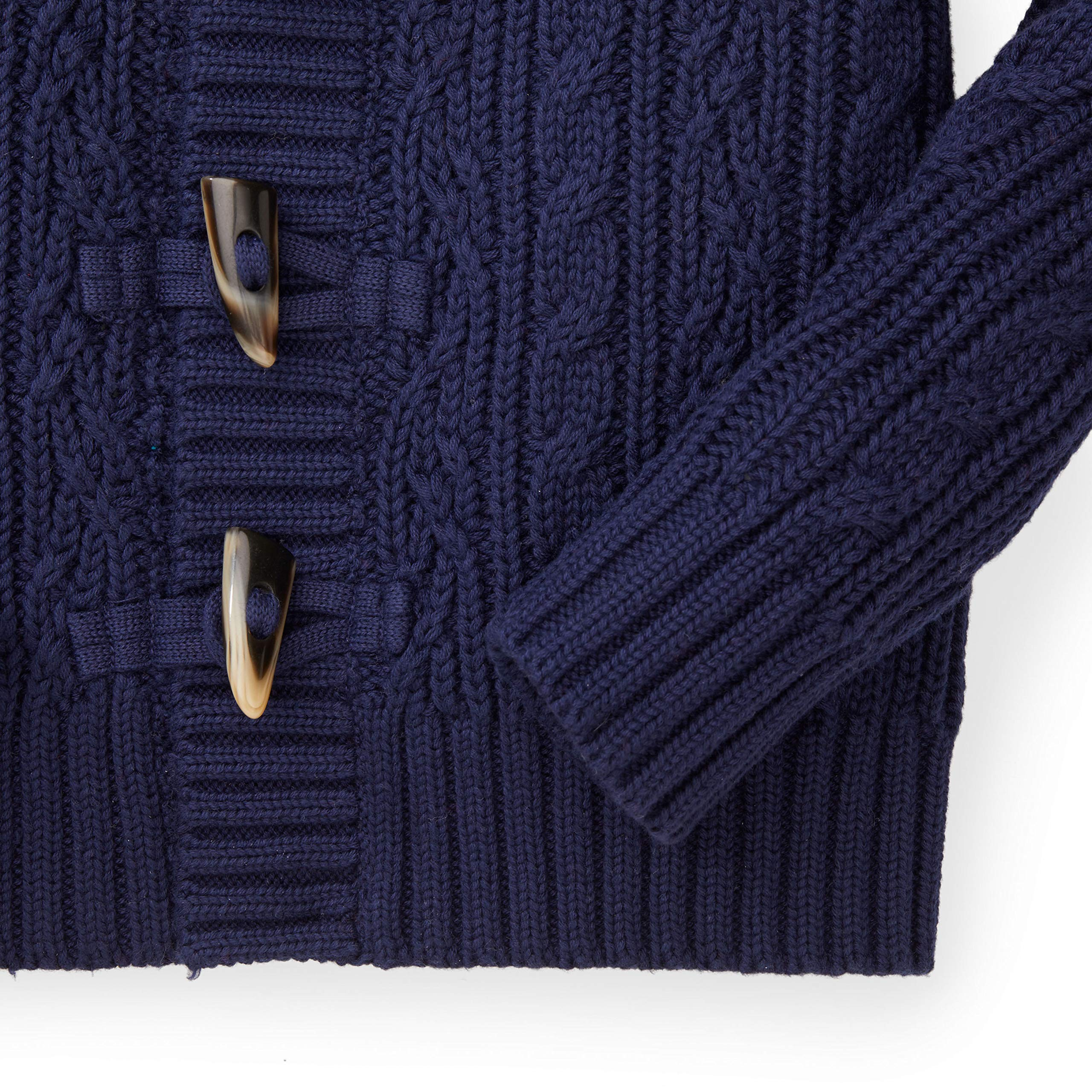Hope & Henry Boys Navy Shawl Collar Cable Sweater by Hope & Henry (Image #3)