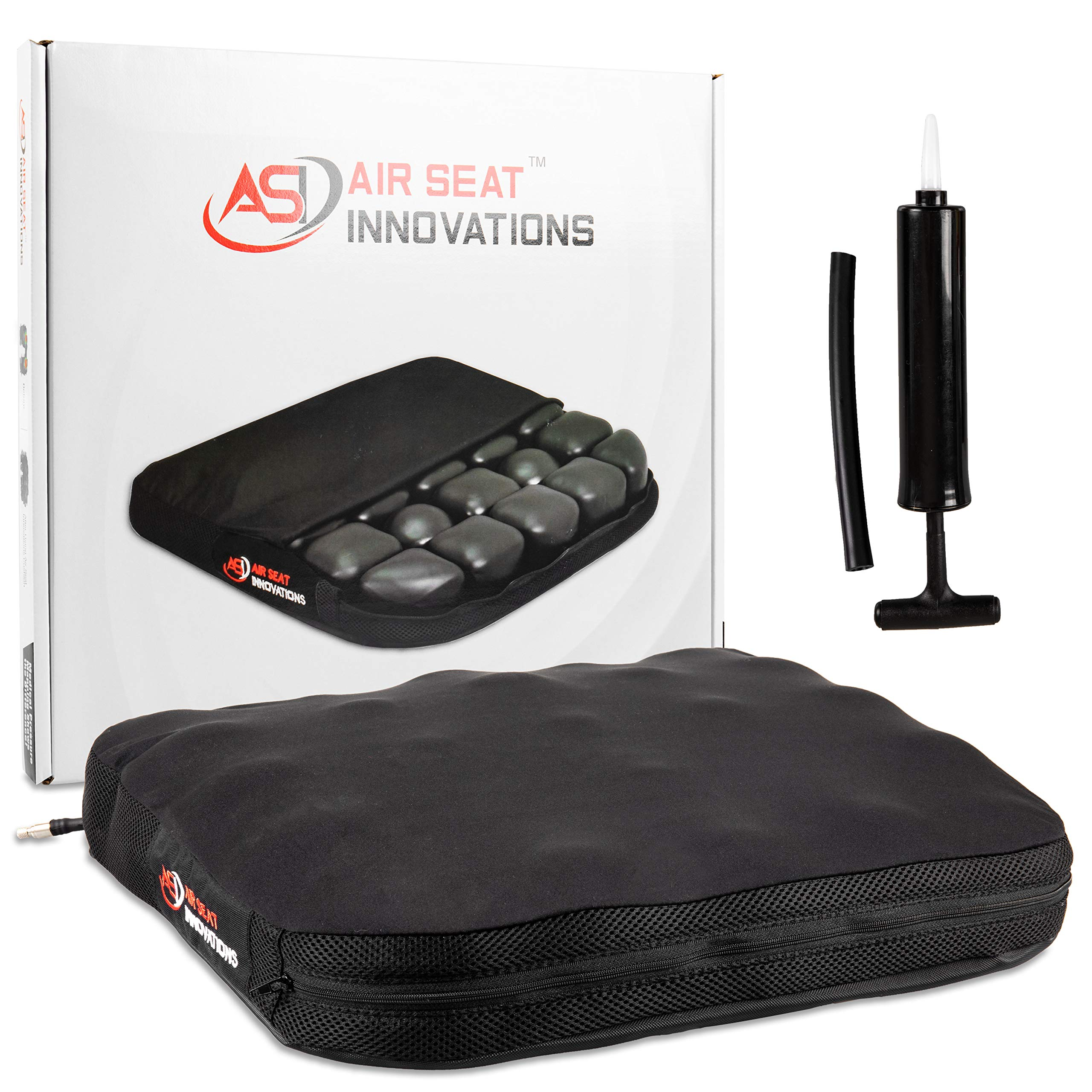 Air Seat Innovations Seat Cushion: Office Chair, Wheelchair, Car or Truck Driver Seat Pad - Lower Back, Coccyx and Sciatica Pain Relief, 18'' x 16'' by Air Seat Innovations