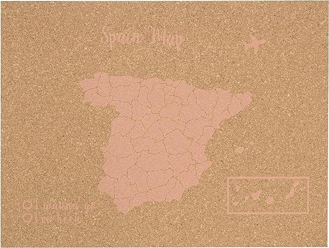 Decowood - Mapa de Corcho España, Grande, para Marcar Tus Viajes y Colgar en la Pared, Rosa Coral - 90x60cm: Amazon.es: Hogar