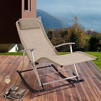 Et Aluminium Beige Bascule Trueshopping Chaise Textilène Empilable Rockcamp De Jardinrelaxation À En PiTOkXZu