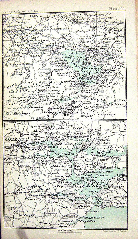 ANTIKE KARTE c1901 SÜD-IRLAND KERRY WATERFORD WICKLOW TIPPERARY ...