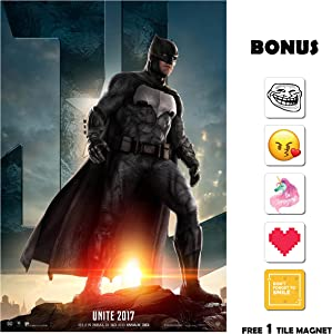 Movie Poster Justice League (2017) - Batman - 13 in x 19 in Flyer Borderless + Free 1 Tile Magnet