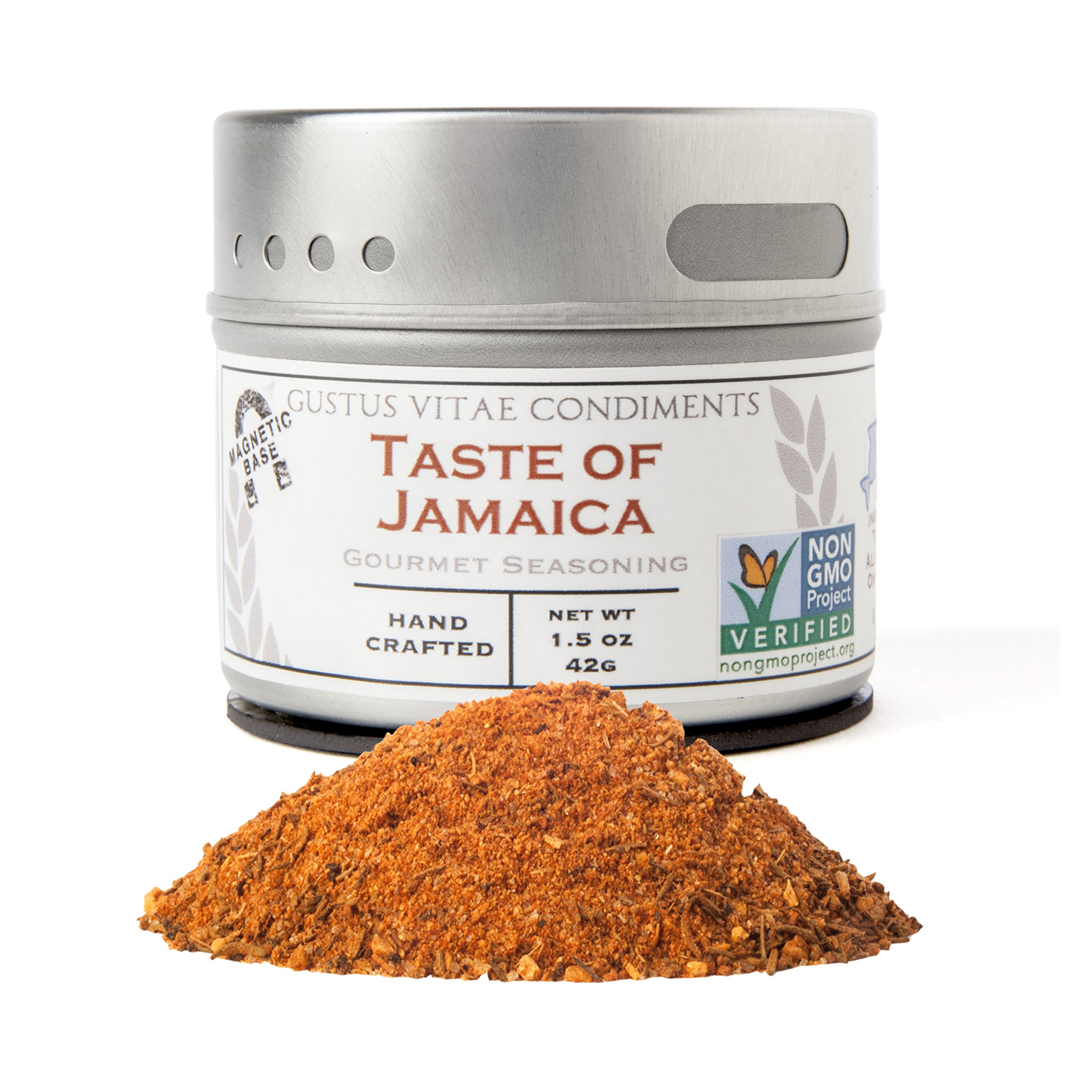 Taste of Jamaica Seasoning | Non GMO Verified | Magnetic Tin | Gourmet Spice Blend | 1.5oz | Crafted in Small Batches by Gustus Vitae | #56