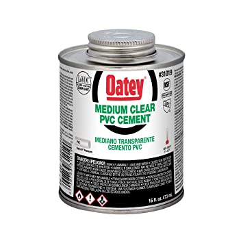 Oatey 31019 PVC Medium Cement, Clear, 16-Ounce