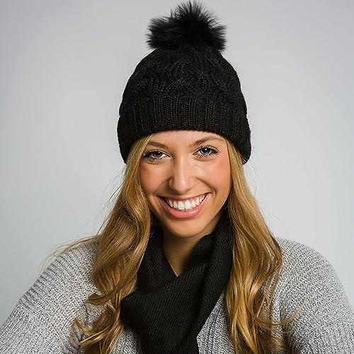 f2ffba12676d1 Image Unavailable. Image not available for. Color  Surhilo Nazca Alpaca Knit  Fur Pom Pom Beanie - Black - Winter Luxury Cap ...