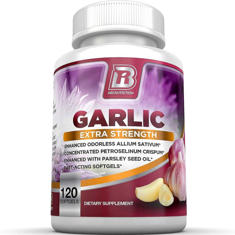 BRI Nutrition Odorless Garlic – 120 Softgels – 1000mg Pure and Potent Garlic Allium Sativum Supplement Maximum Strength – 60 Day Supply