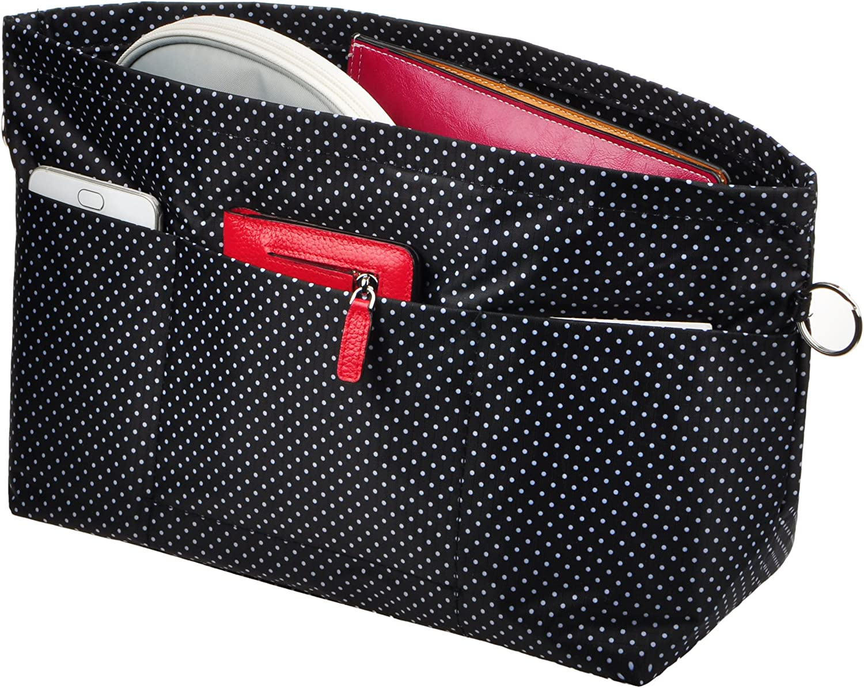 Vercord Purse Organizer Insert Bag Tote Handbags Pocketbook Inserts Organizers Zipper 11 Pockets Black Dots Large