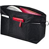 Vercord Purse Organizer Insert Bag Tote Handbags Pocketbook Inserts Organizers Zipper 11 Pockets Black Dot Small