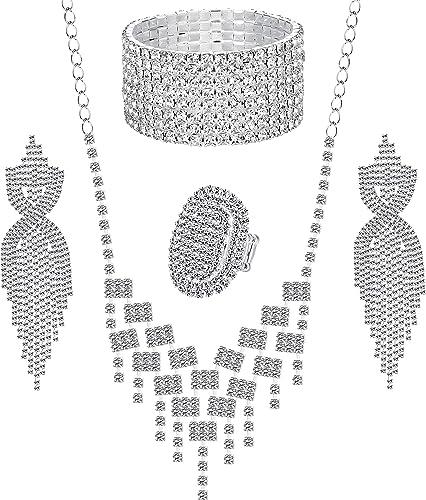 Adramata Cristal Bijoux De Mari/ée Ensemble pour Femmes Strass Collier Boucles doreilles Bracelet De Mariage Demoiselle dhonneur Bijoux Ensemble