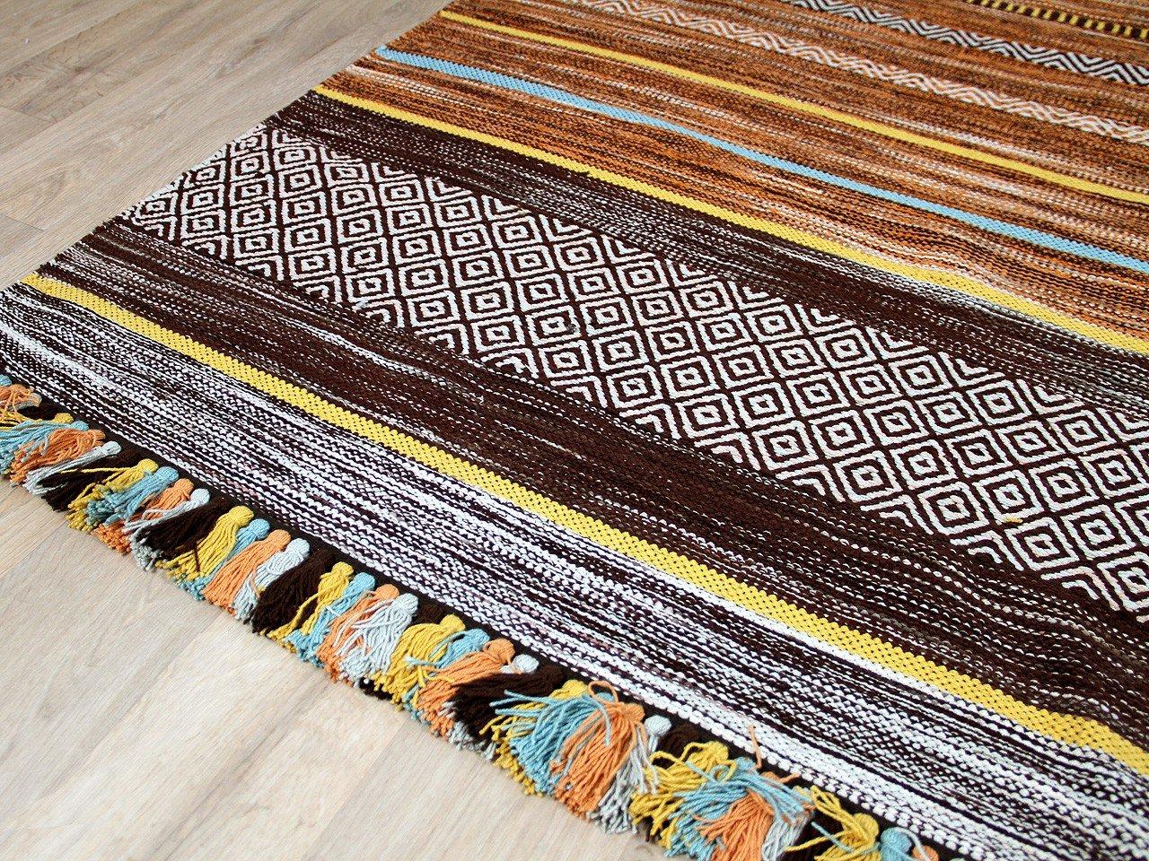 Natur Teppich Bauwolle Kelim Kalleen Braun in 6 Größen