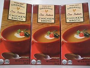 Trader Joe's Organic Low Sodium Chicken Broth, 3-pack. (3)- 32oz Cartons.