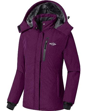 Wantdo Women s Detachable Hood Waterproof Fleece Lined Parka Windproof Ski  Jacket 25de25dc8