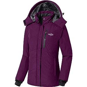 c626295fba12 Wantdo Women s Detachable Hood Waterproof Fleece Lined Parka Windproof Ski  Jacket