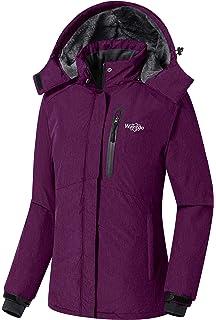 Wantdo Women s Detachable Hood Waterproof Fleece Lined Parka Windproof Ski  Jacket 85ff15176